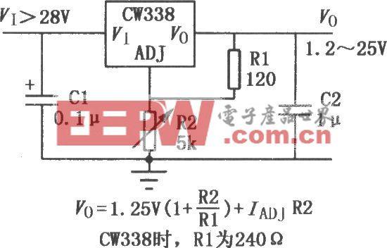 CW117/137系列输出电压可调集成稳压器的典型应用电路