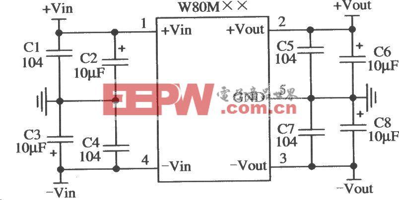 五端固定输出正负双集成稳压器LW80M××的典型应用电路