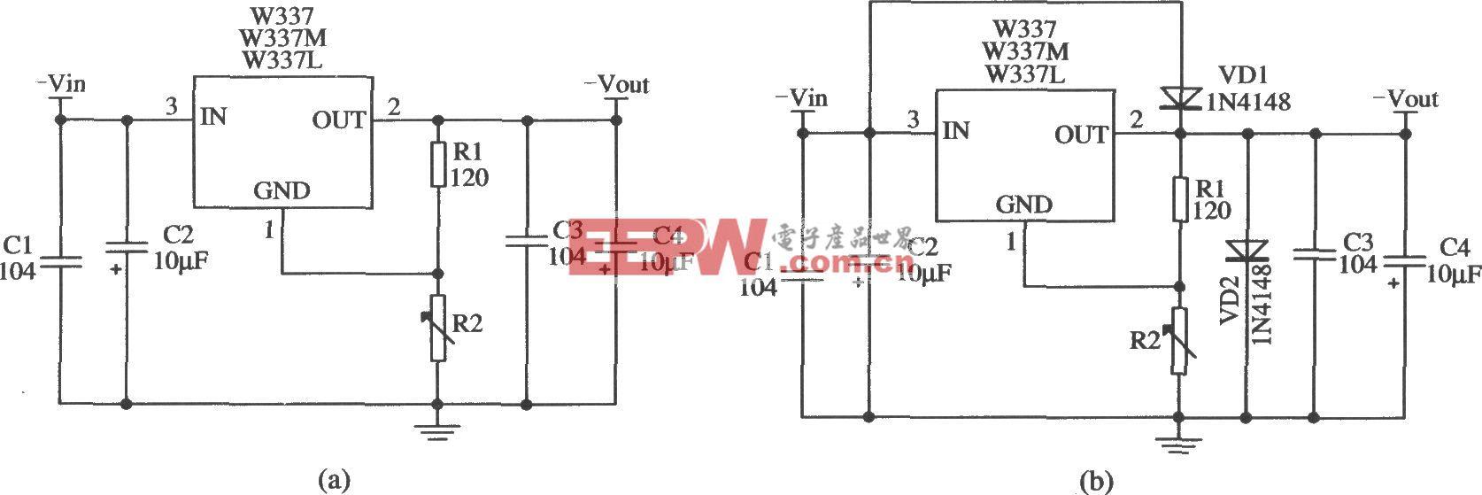 三端可调负集成稳压器W337L/W337M/W337的典型应用电路