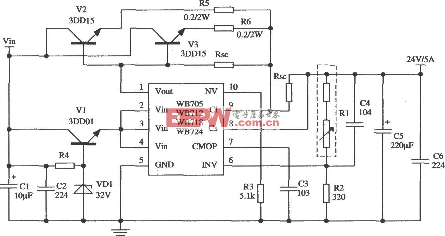 由WB705构成的扩大输出电流的应用电路