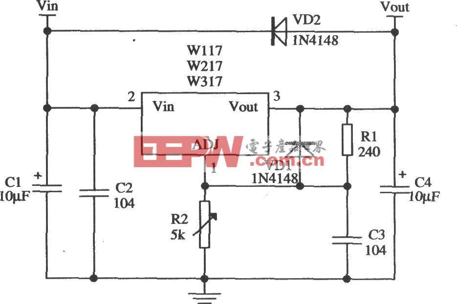 由W317L/W317M/W317构成的加保护二极管的标准应用电路