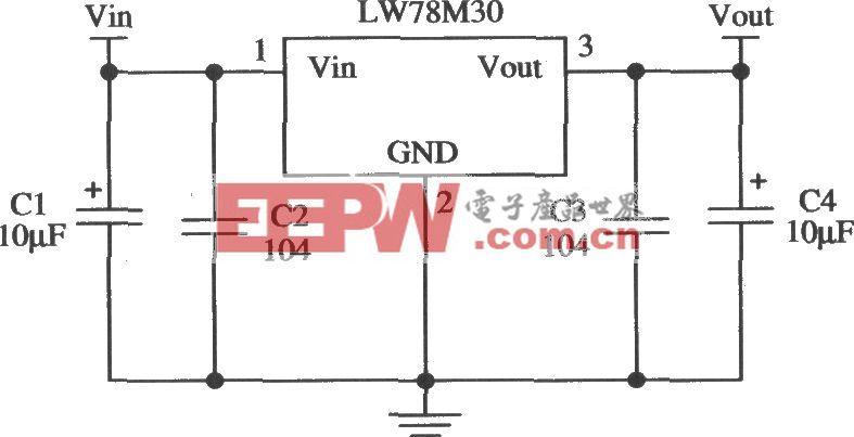 三端固定输出正集成稳压器LW78M30的应用电路