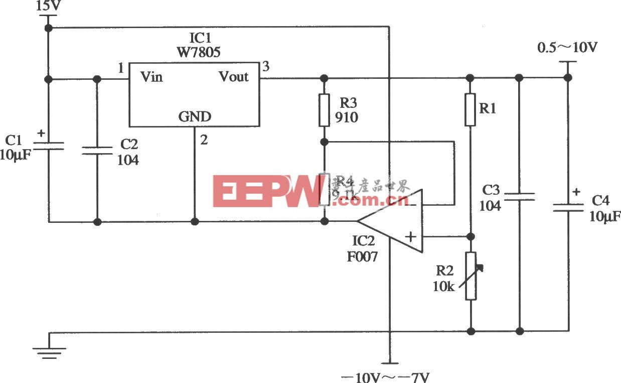 由W7805夠車工內的輸出電壓0.5~10V連續可調的應用電路
