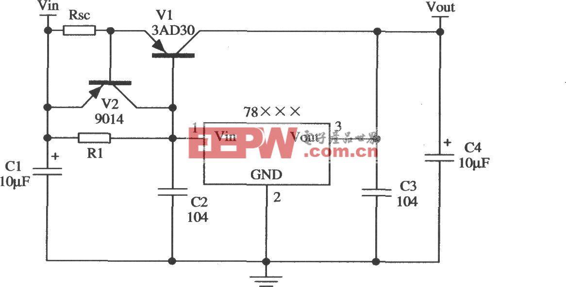 W78×××構成的擴大輸出電流的應用電路1