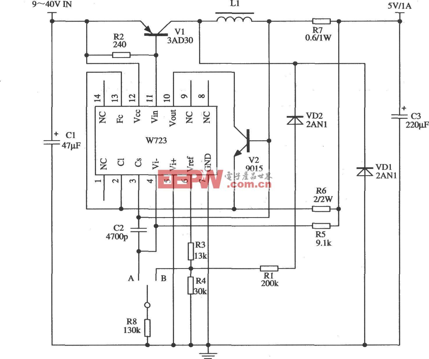 由W723组成的开关稳压器应用电路