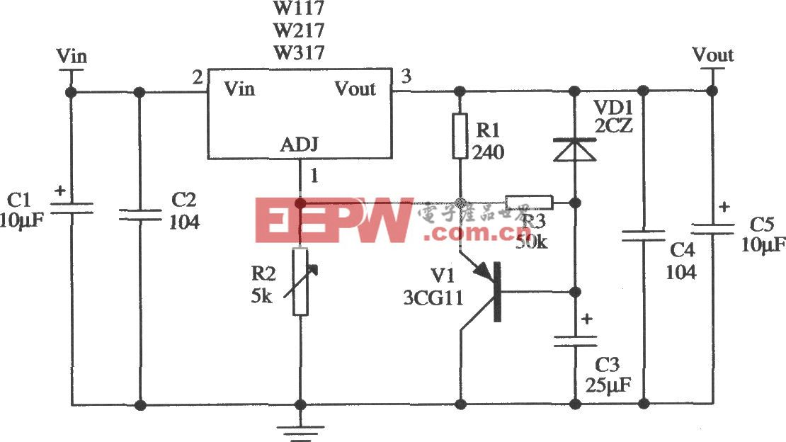 由Wll7/W217/W317构成的具有慢启动功能的应用电路
