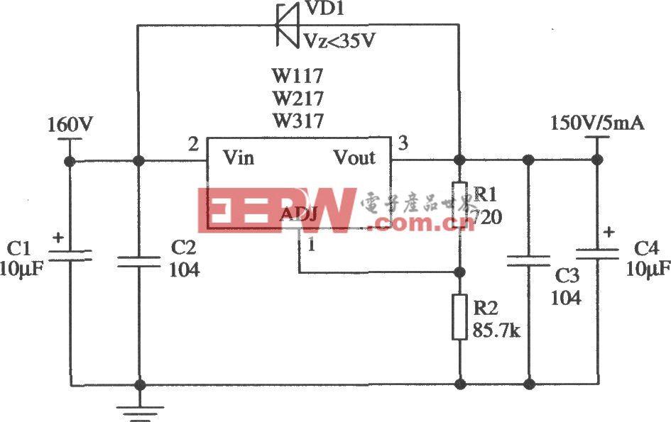由Wll7/W217/W317构成的提高输出电压的应用电路