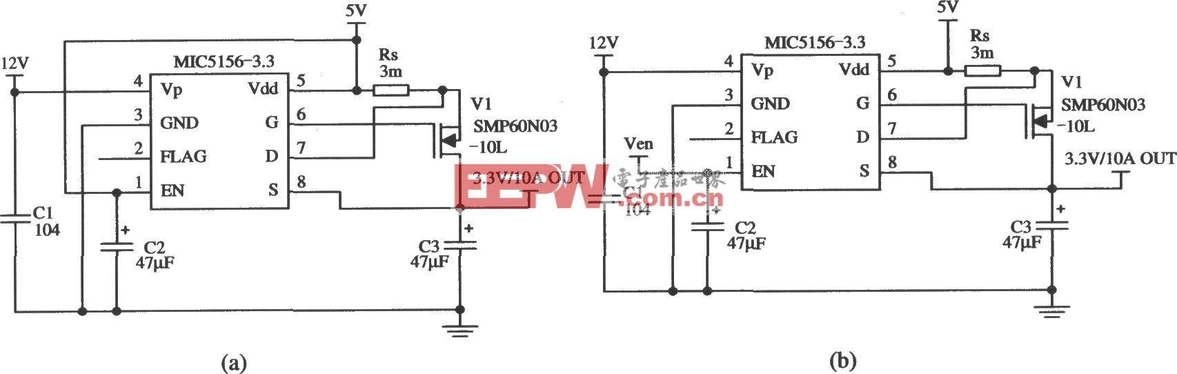 由MIC5156-3.3构成的由5V变为3.3V的稳压器电路