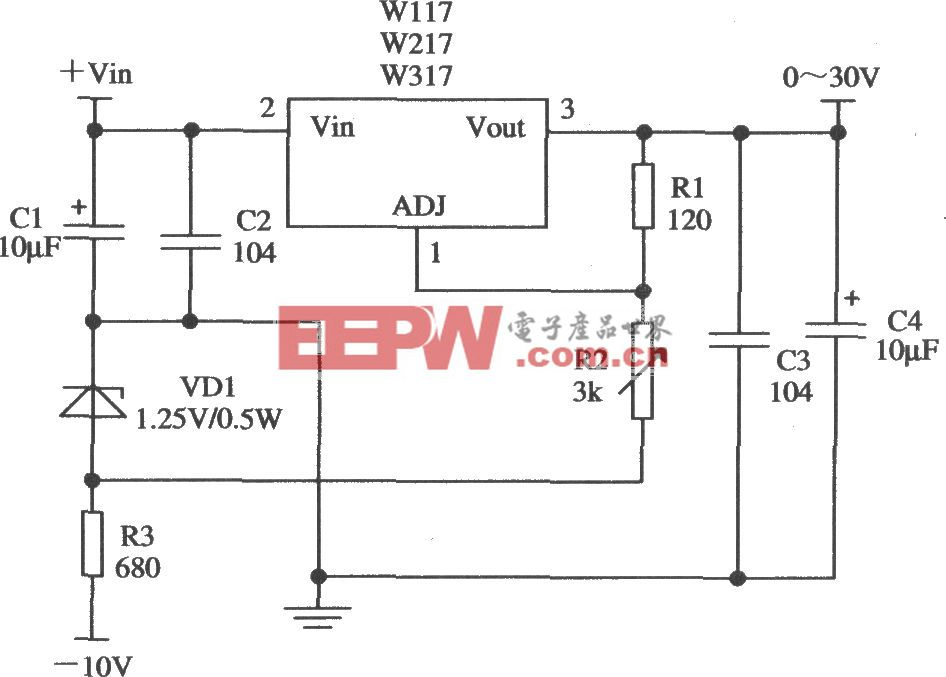 由Wll7/W217/W317构成的输出电压0~30V连续可调的应用电路