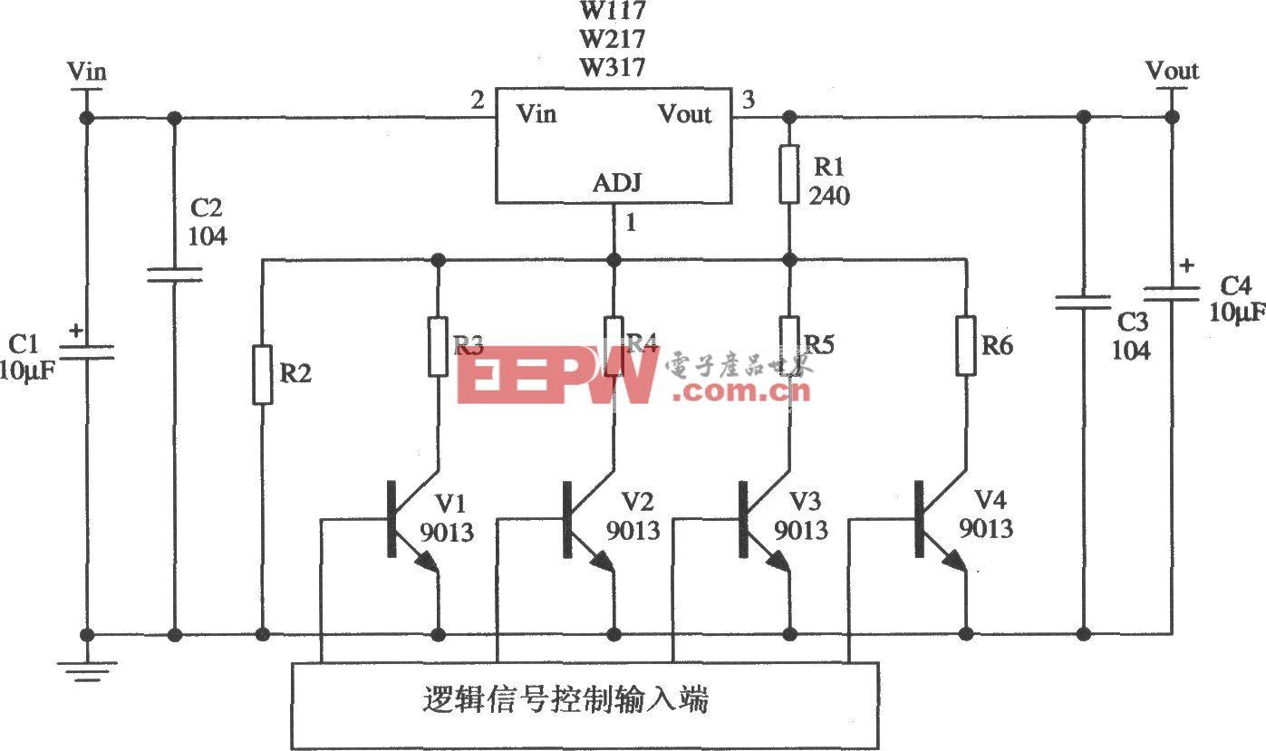 由Wll7/W217/W317构成的可进行数字选择输出电压的稳压器应用电路