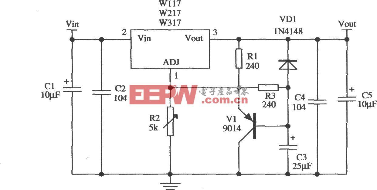 由W317L/W317M/W317构成的慢启动15V输出的稳压器应用电路