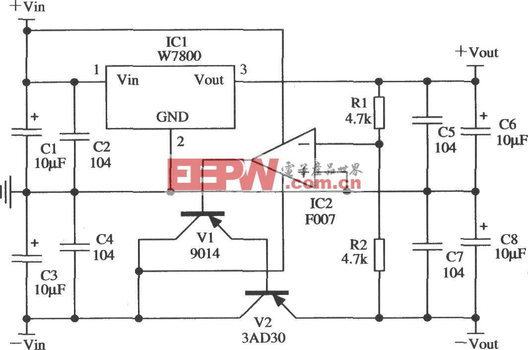 由W7800构成的跟踪式稳压电源的应用电路