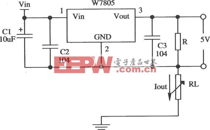 由W7805构成的恒流源应用电路