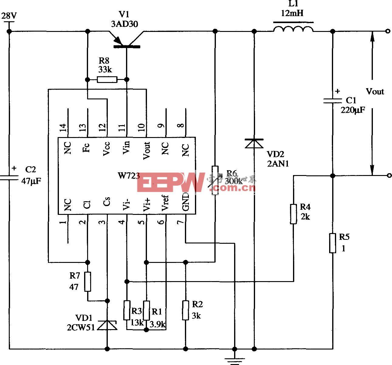 由W723组成的开关式恒流源应用电路