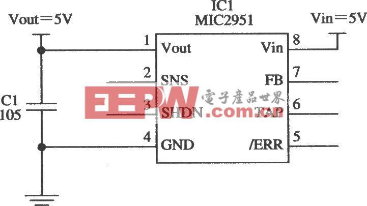 由MIC2951构成的5V限流器电路