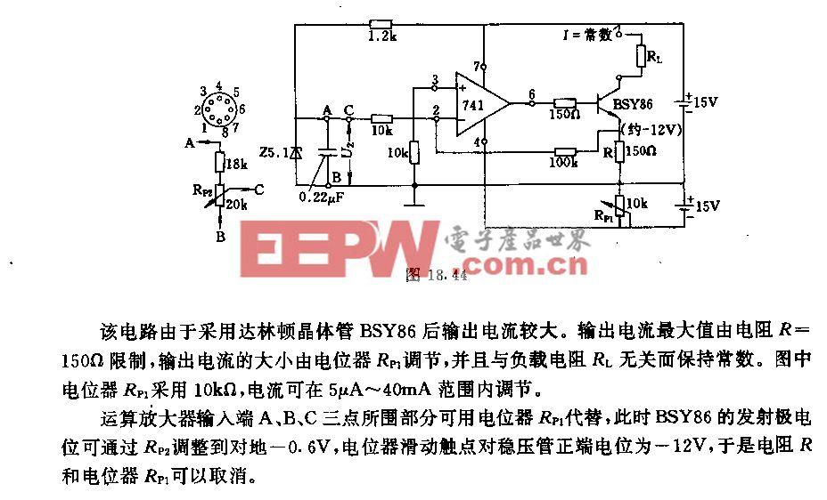 采用运算放大器和达林顿晶体管的恒流源