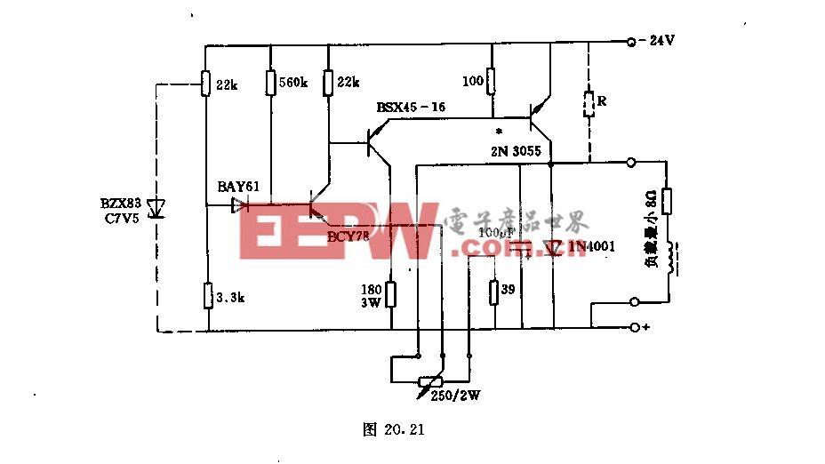 24V/3A晶体管调压器