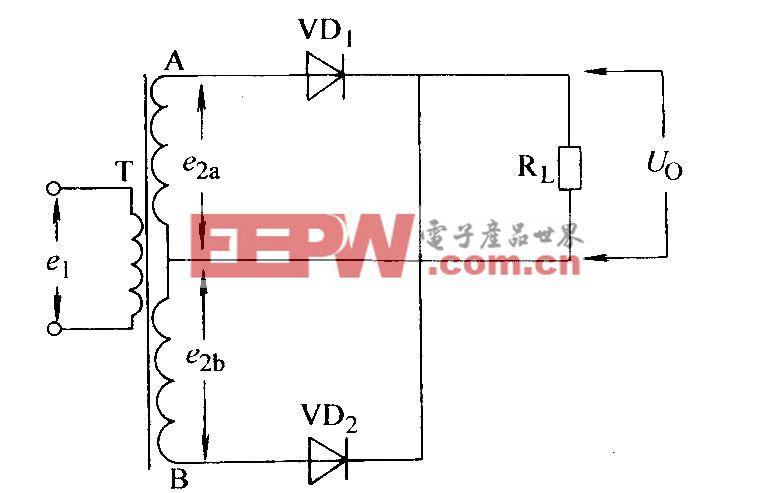 单相全波电阻负载整流电路