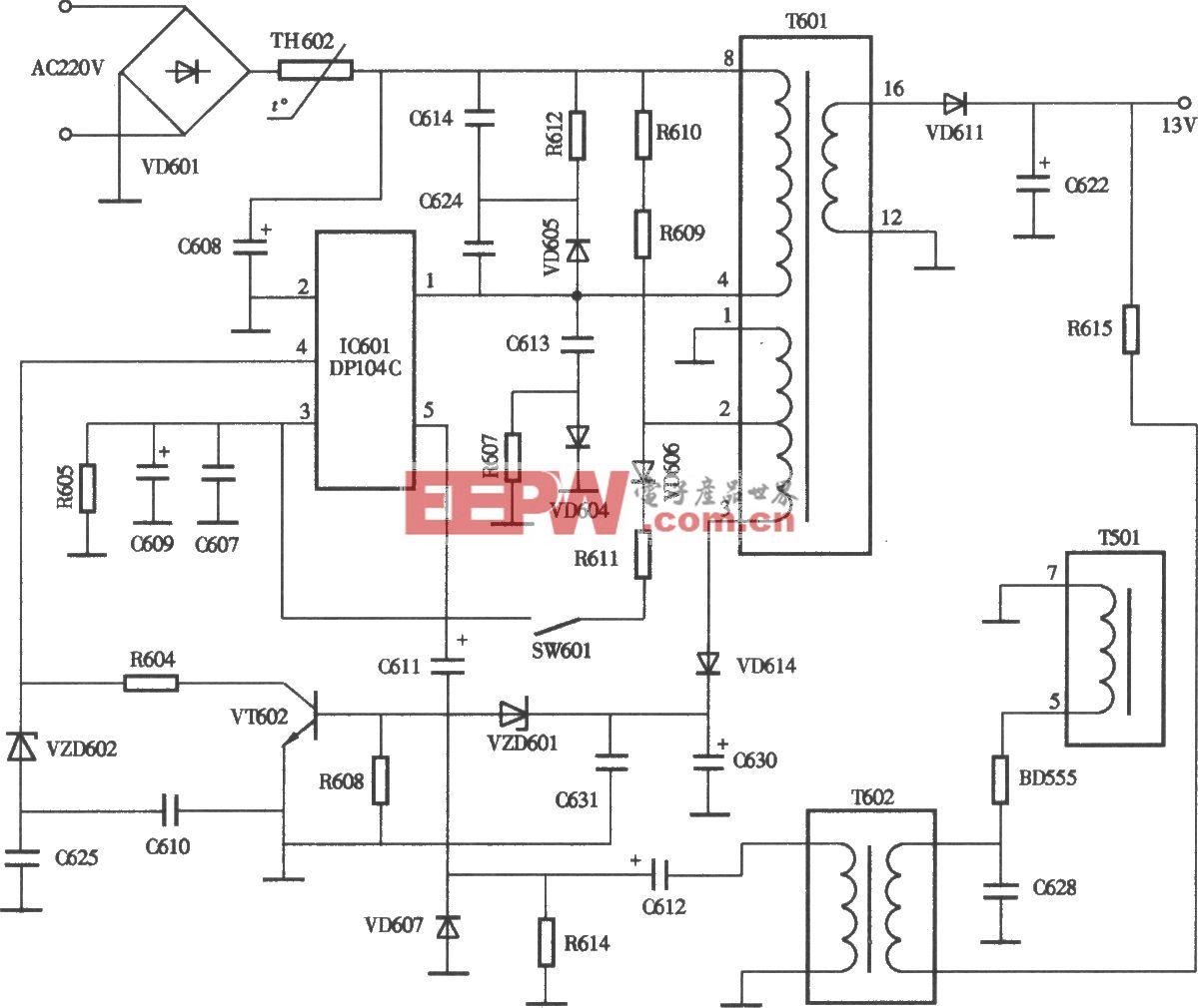 三星SAMSANG5508/7508型彩显开关电源(DPl04P) 电路