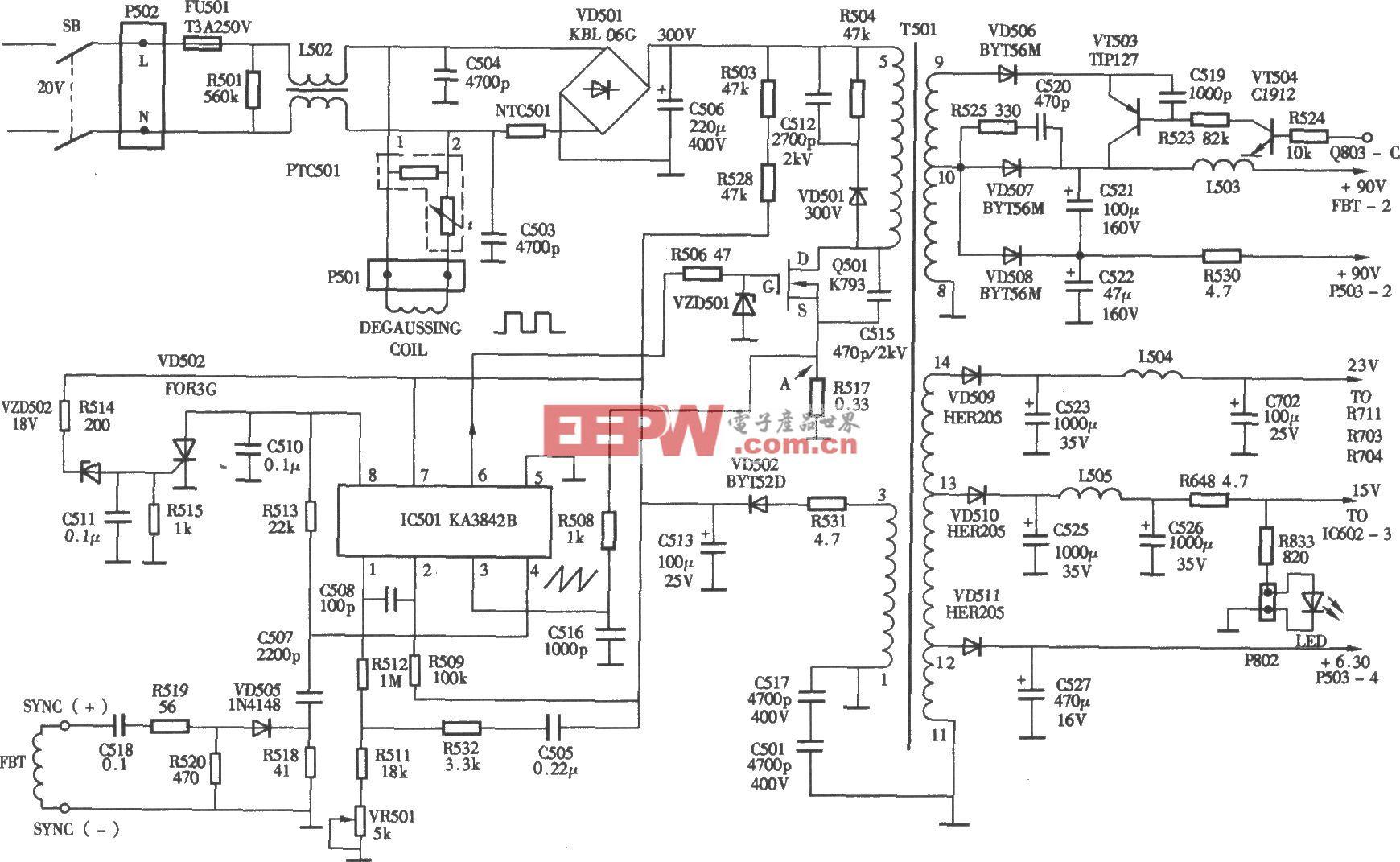 JBC牌多频彩显(1428机心)开关电源(KA3824B) 电路