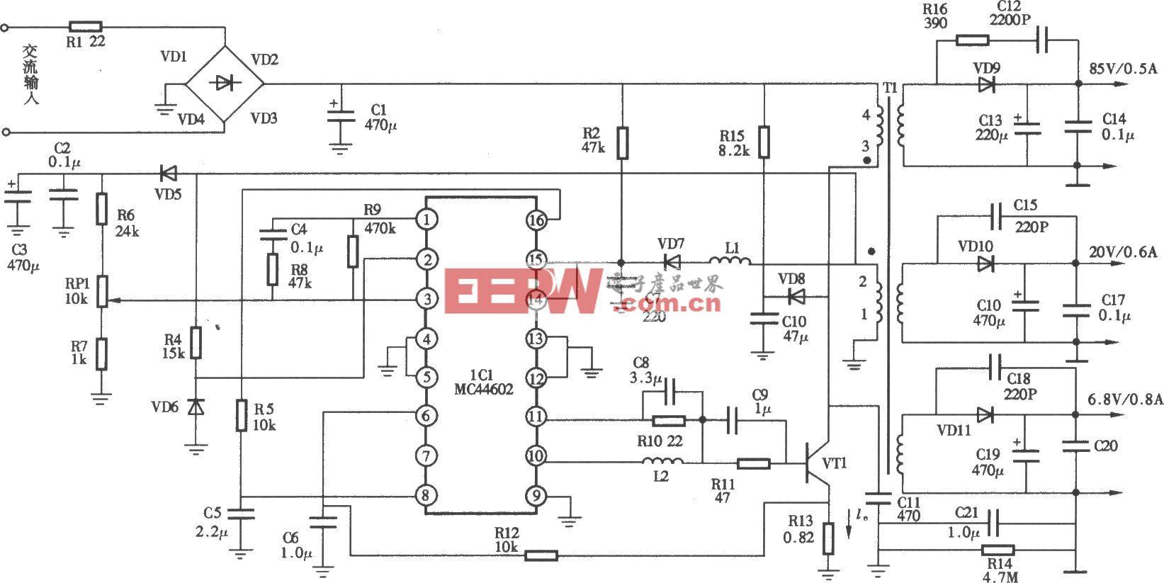 MCl401型彩显开关电源(MC44602)电路