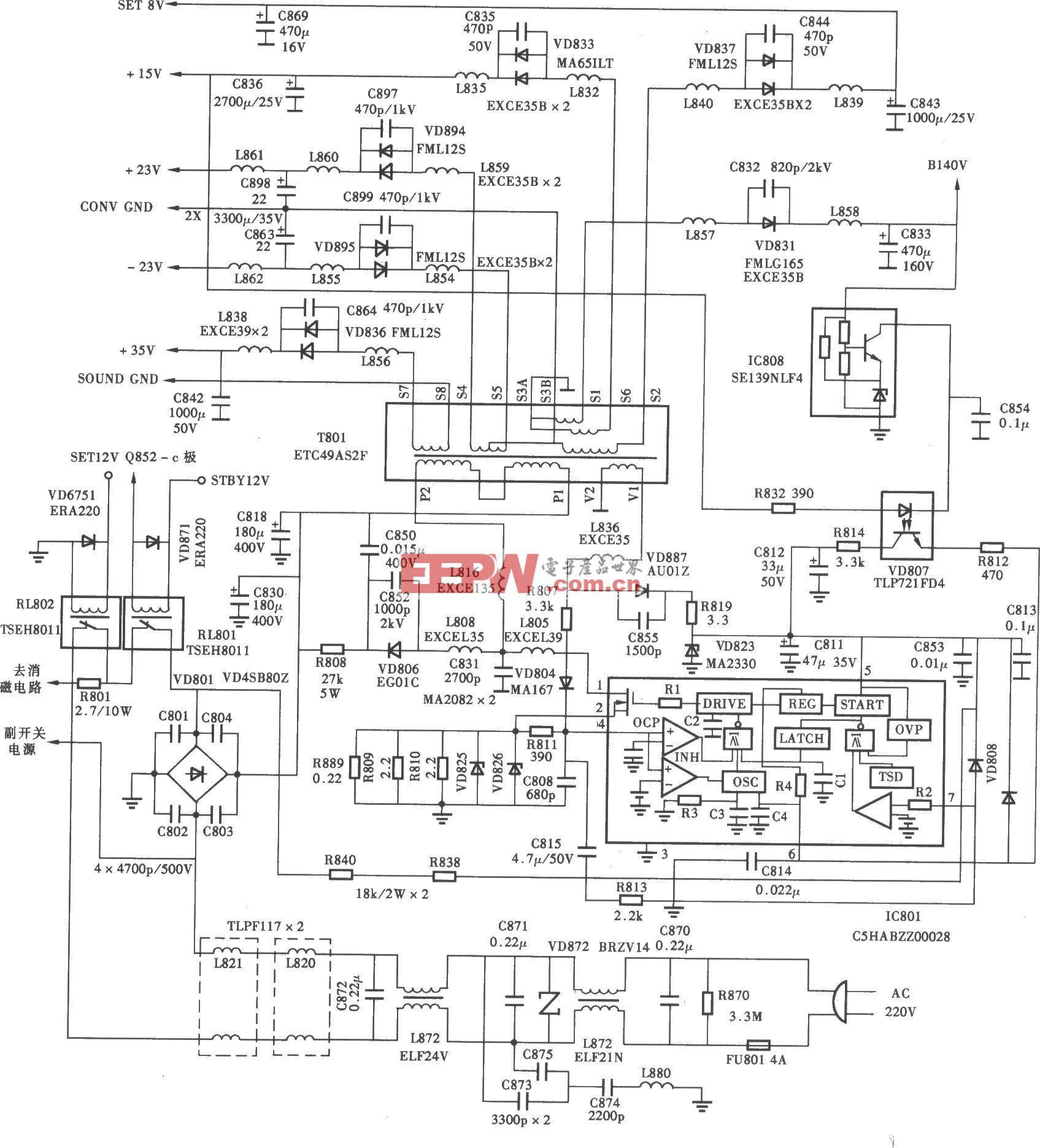 松下TC-43P18G背投彩电电源电路