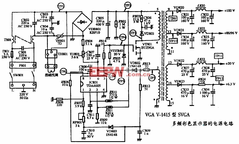 VGA V-1415型SVGA多频彩色显示器的电源电路图