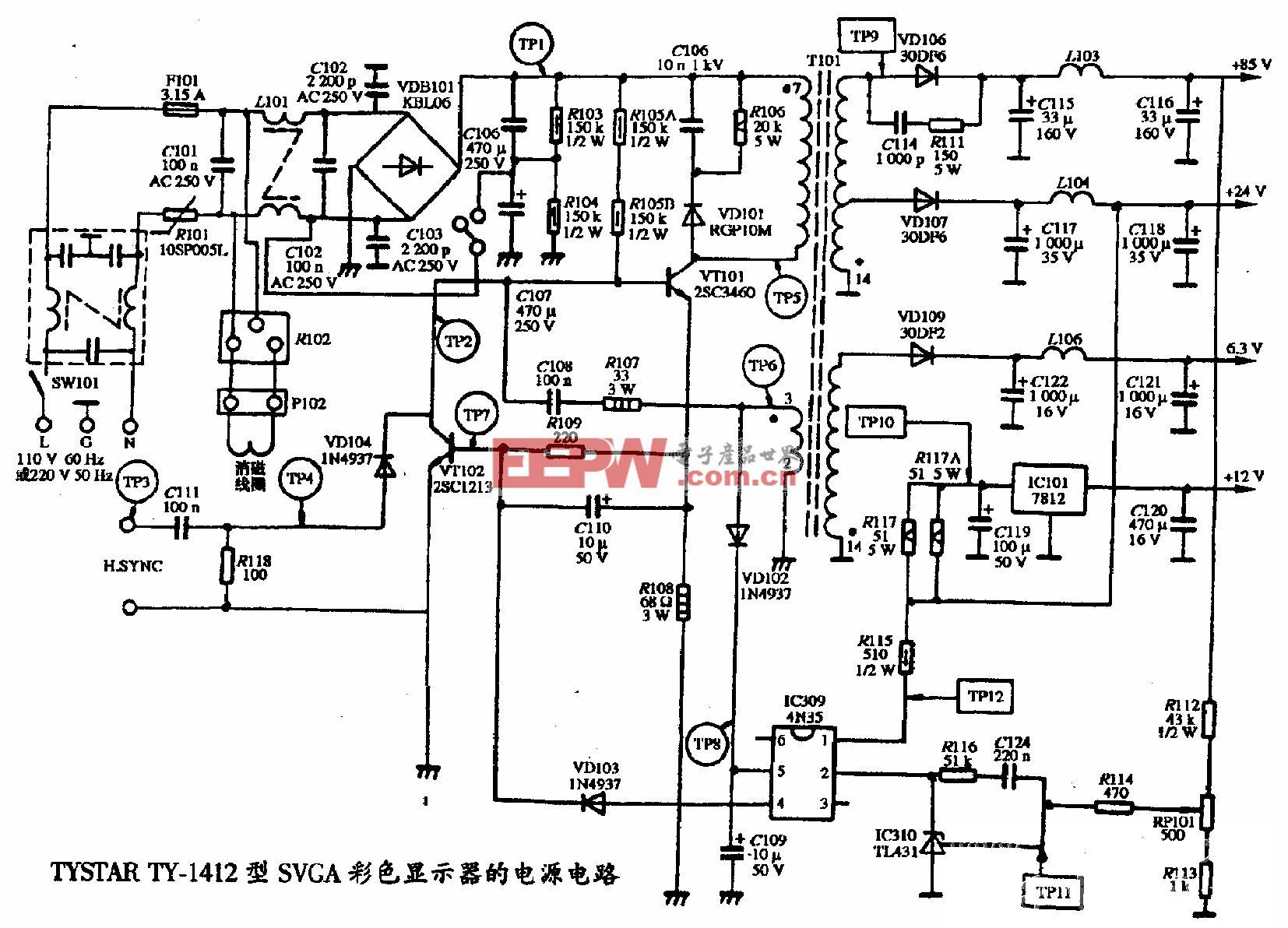 TYSTAR TY-1412型SVGA彩色显示器的电源电路图