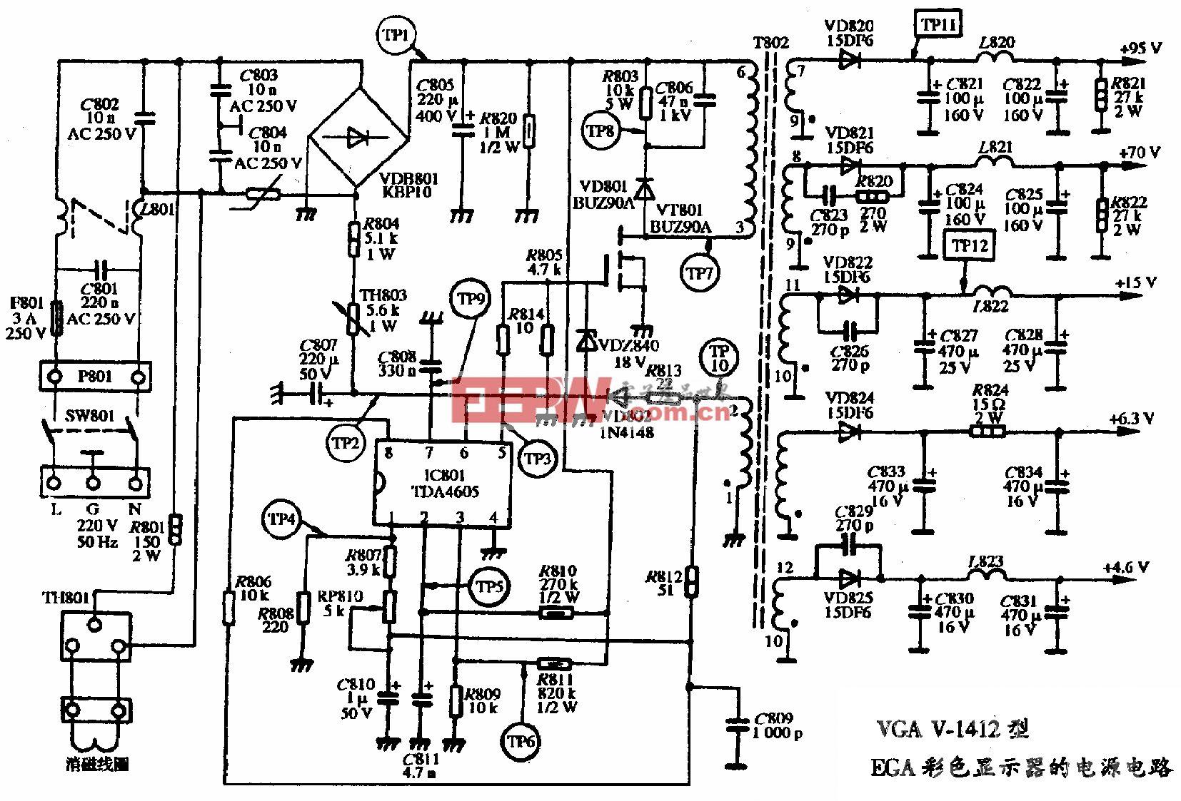 VGA V-1412型EGA彩色显示器的电源电路图