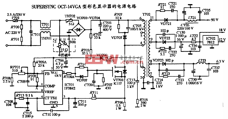 SUPERSYNC OCT-14VGA型彩色显示器的电源电路图