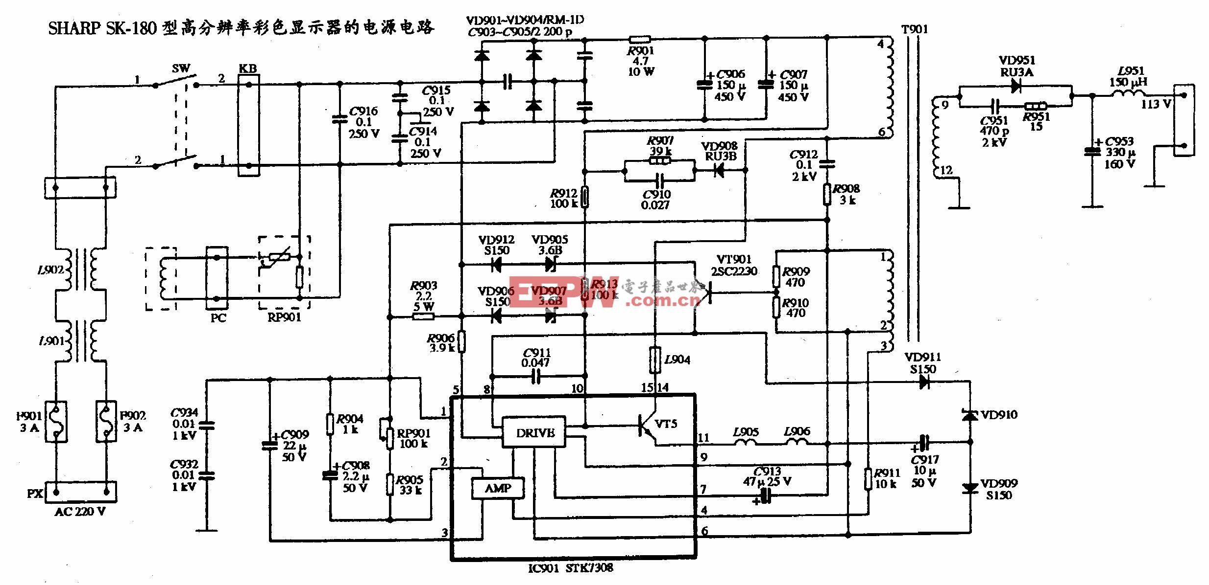 SHARP SK-180型高分辨率彩色显示器的电源电路图
