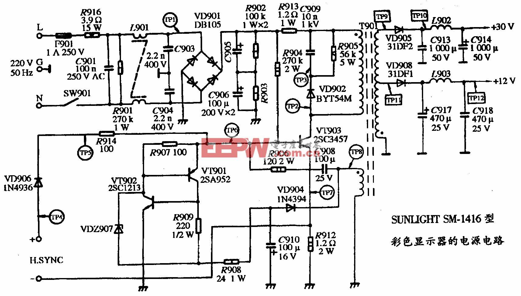SUNLIHT SM-1416型彩色显示器的电源电路图