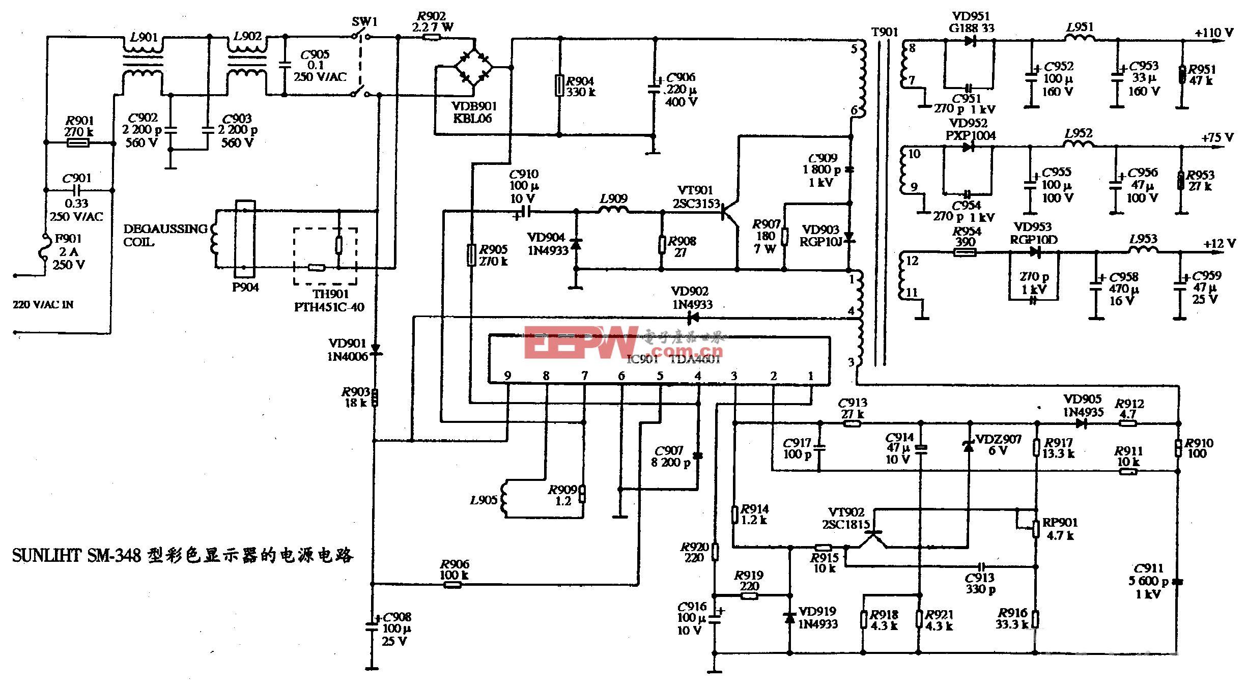 SUNLIHT SM-348型彩色显示器的电源电路图