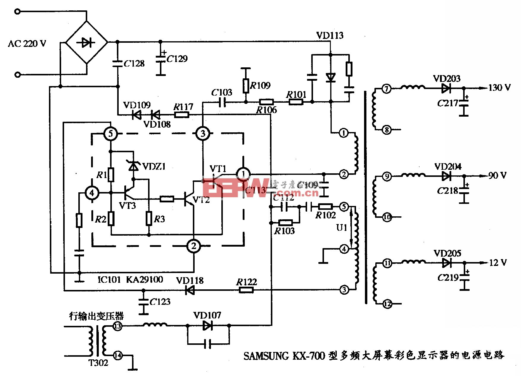 SAMSUNG KX-700型多频大屏幕彩色显示器的电源电路图