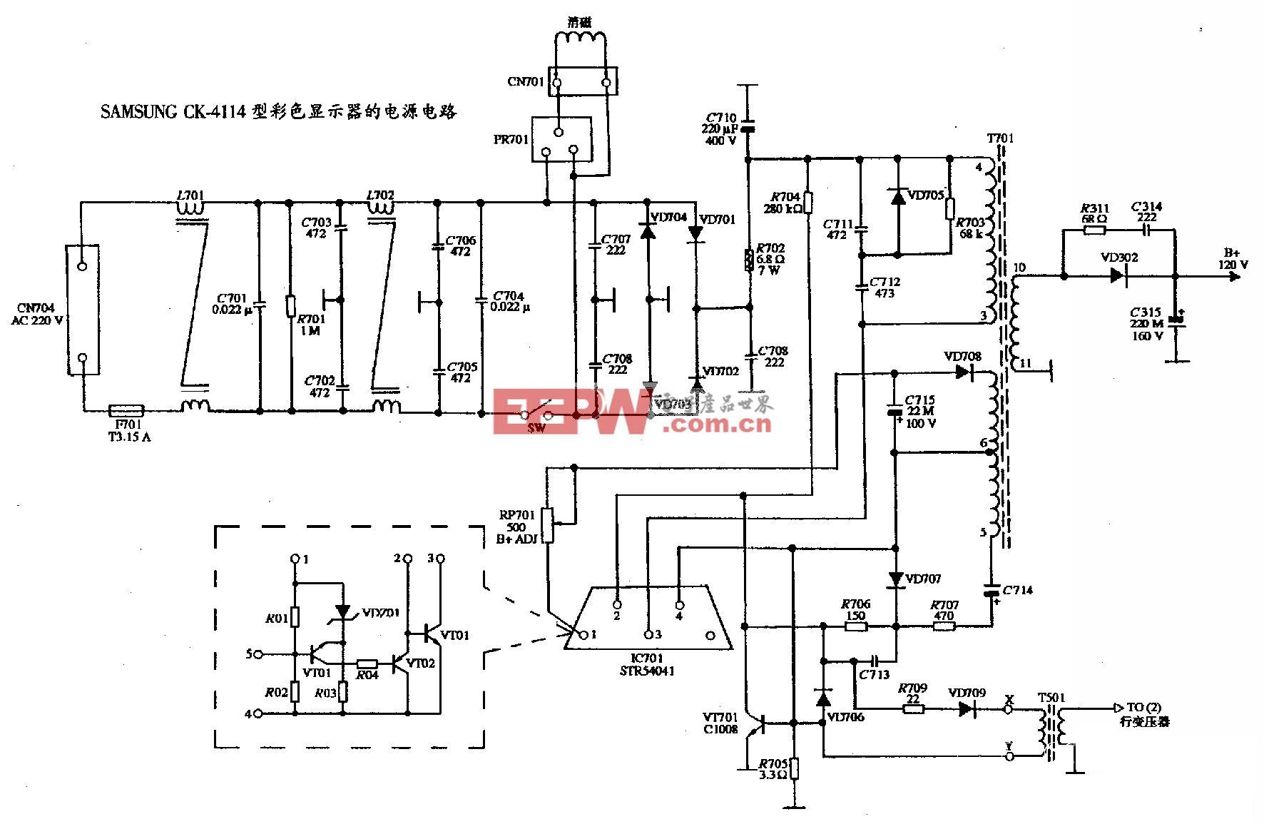 SAMSUNG CK-4114型彩色显示器的电源电路图