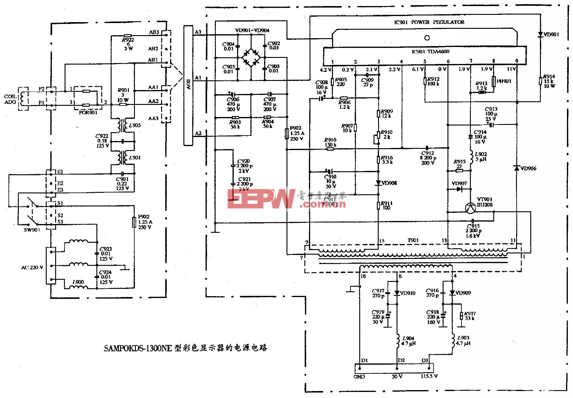 SAMPO KDS-1300NE型彩色显示器的电源电路图