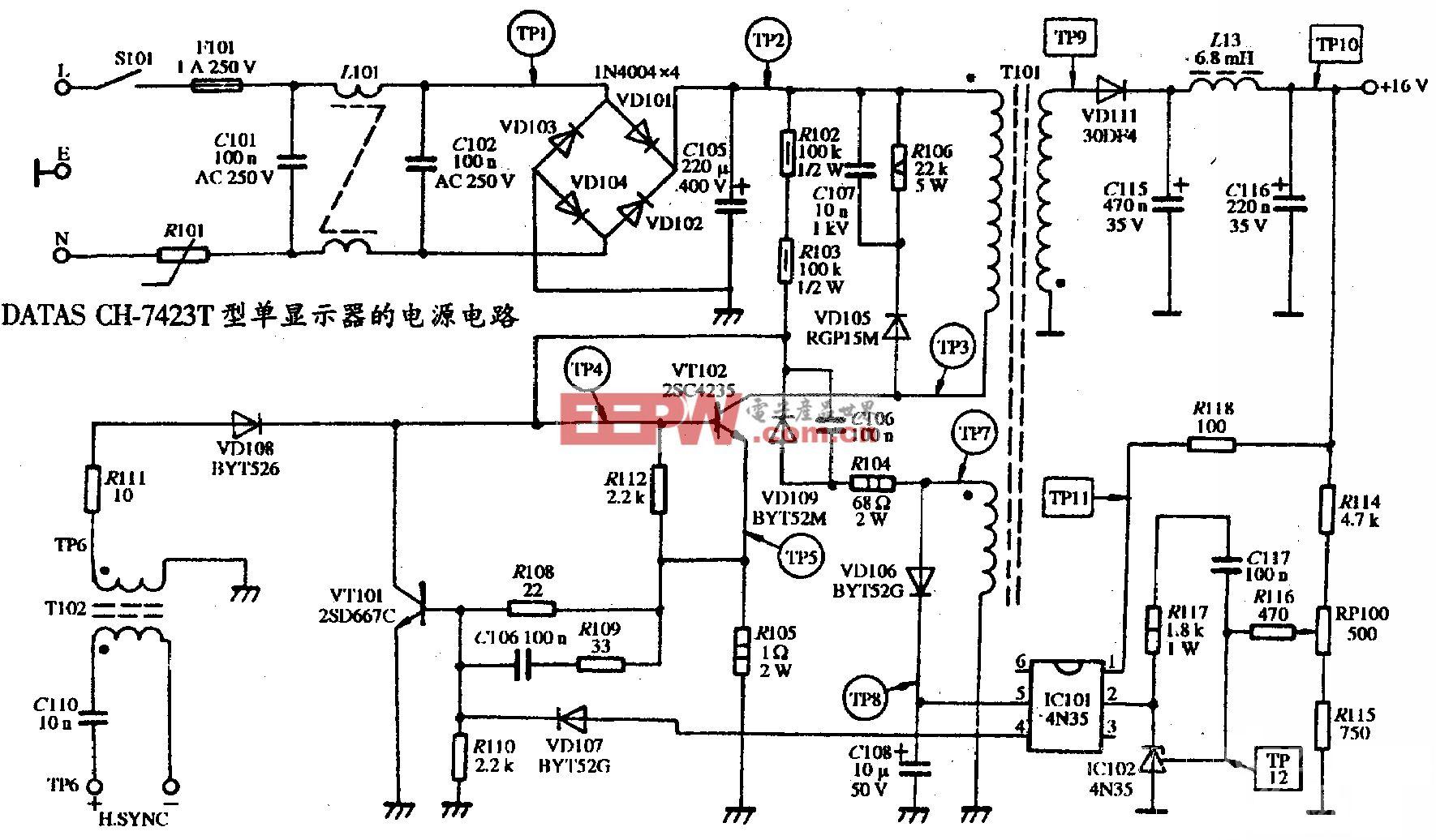 DATAS CH-7423型单显示器的电源电路图