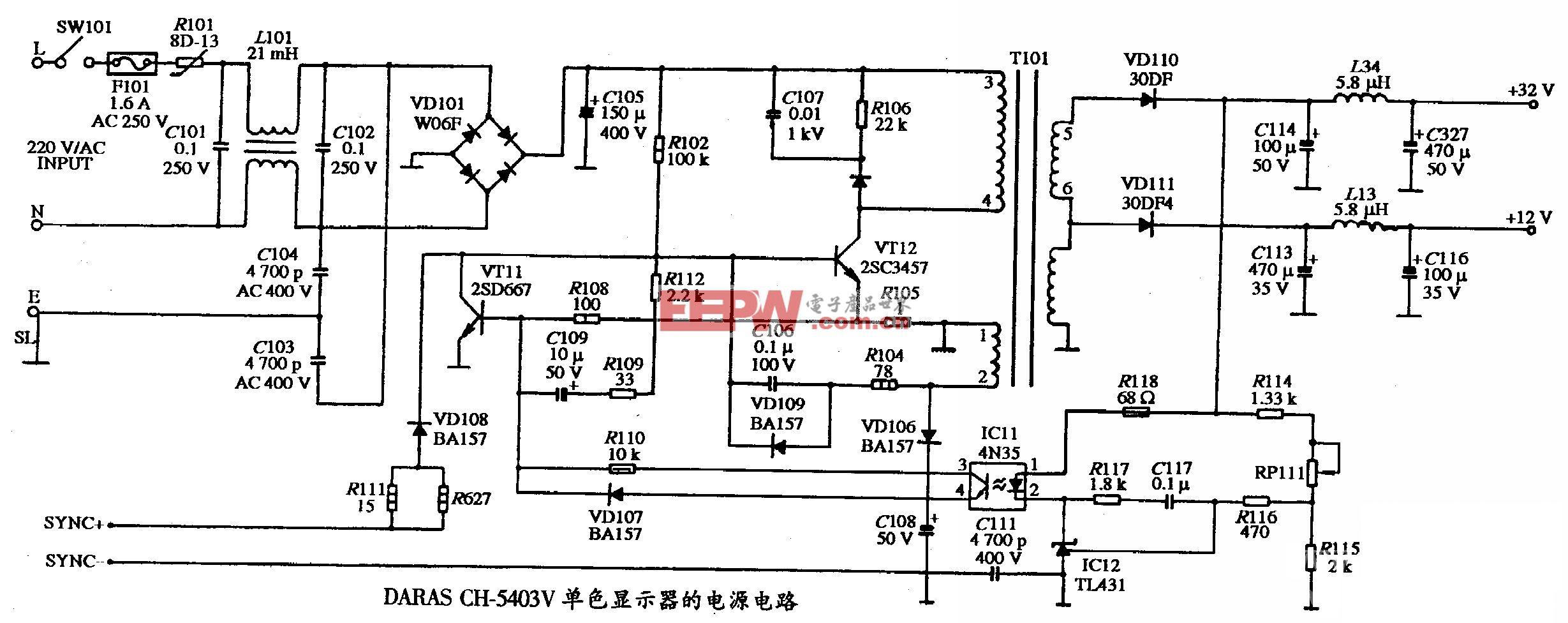 DARAS CH-5403V型单色显示器的电源电路图