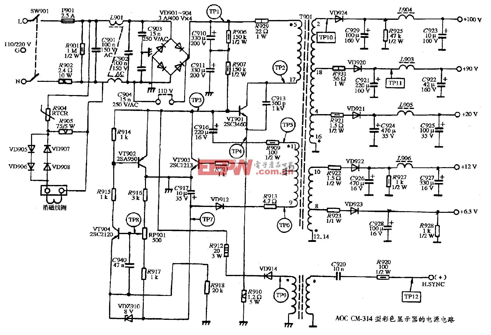 AOC CM-314型彩色显示器的电源电路图