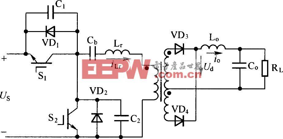 半桥不对称PWM控制变换器主电路图