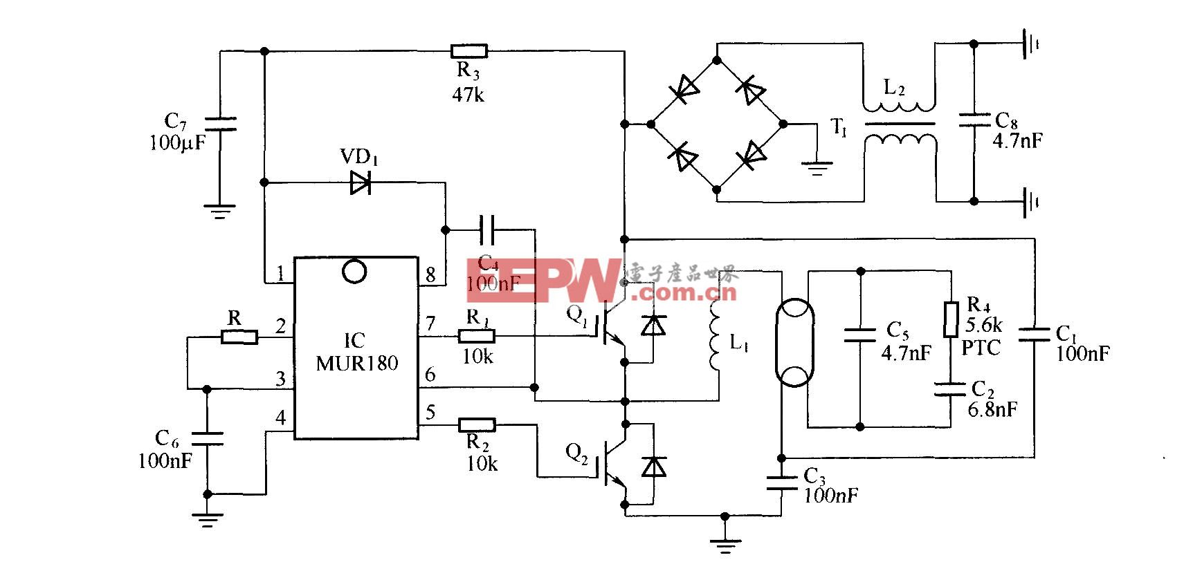 以IGBT为开关的低成本CFL电子镇流器电路