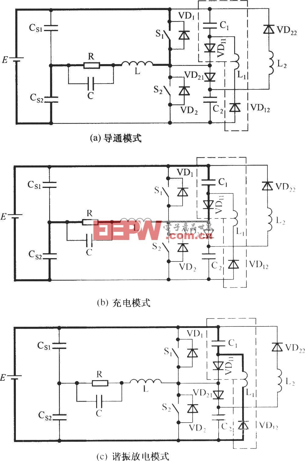 C-L-2D型無源無損緩沖電路的工作模式