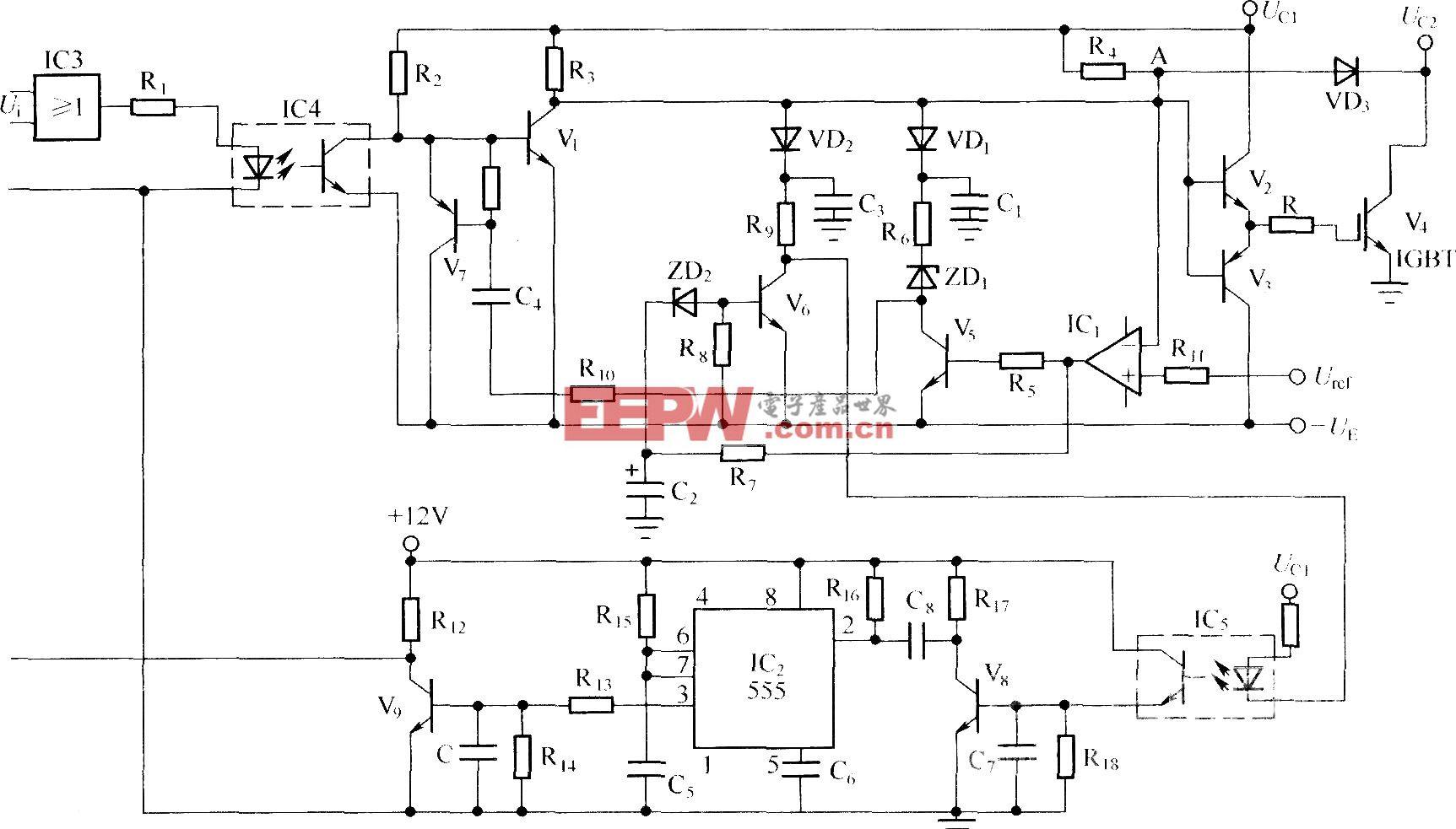 降栅压软关断及降低工作频率的综合短路保护电路