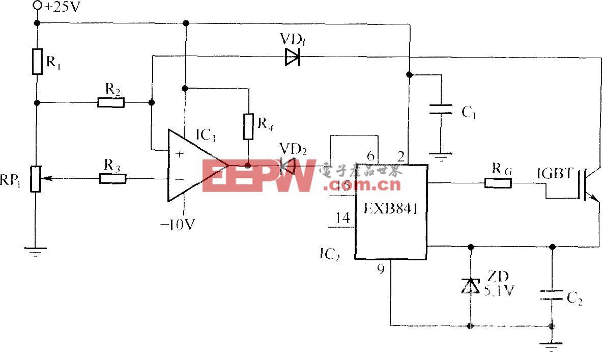 采用IGBT过流时UCE增大的原理进行保护的电路