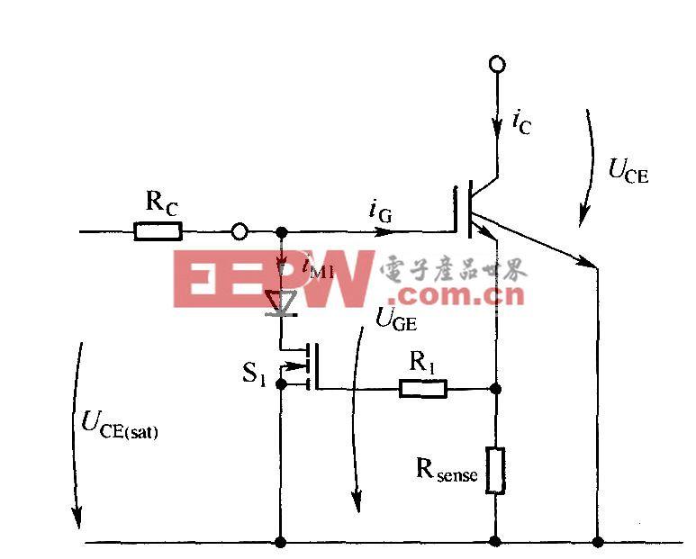 通过降低IGBT栅极-发射极电压来限制短路电流
