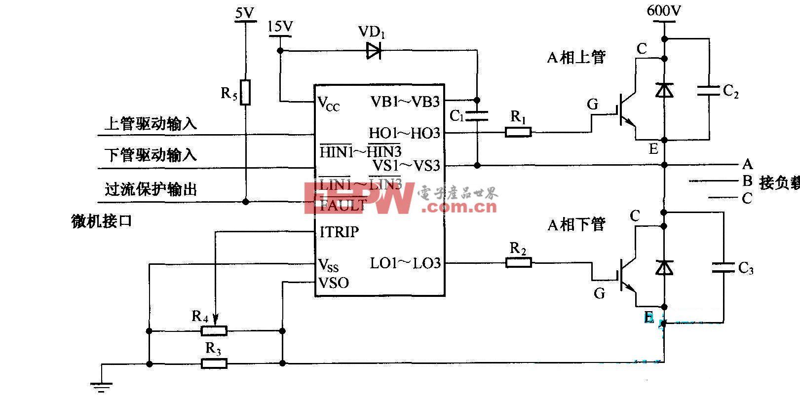 IR2130与功率管的连接方式