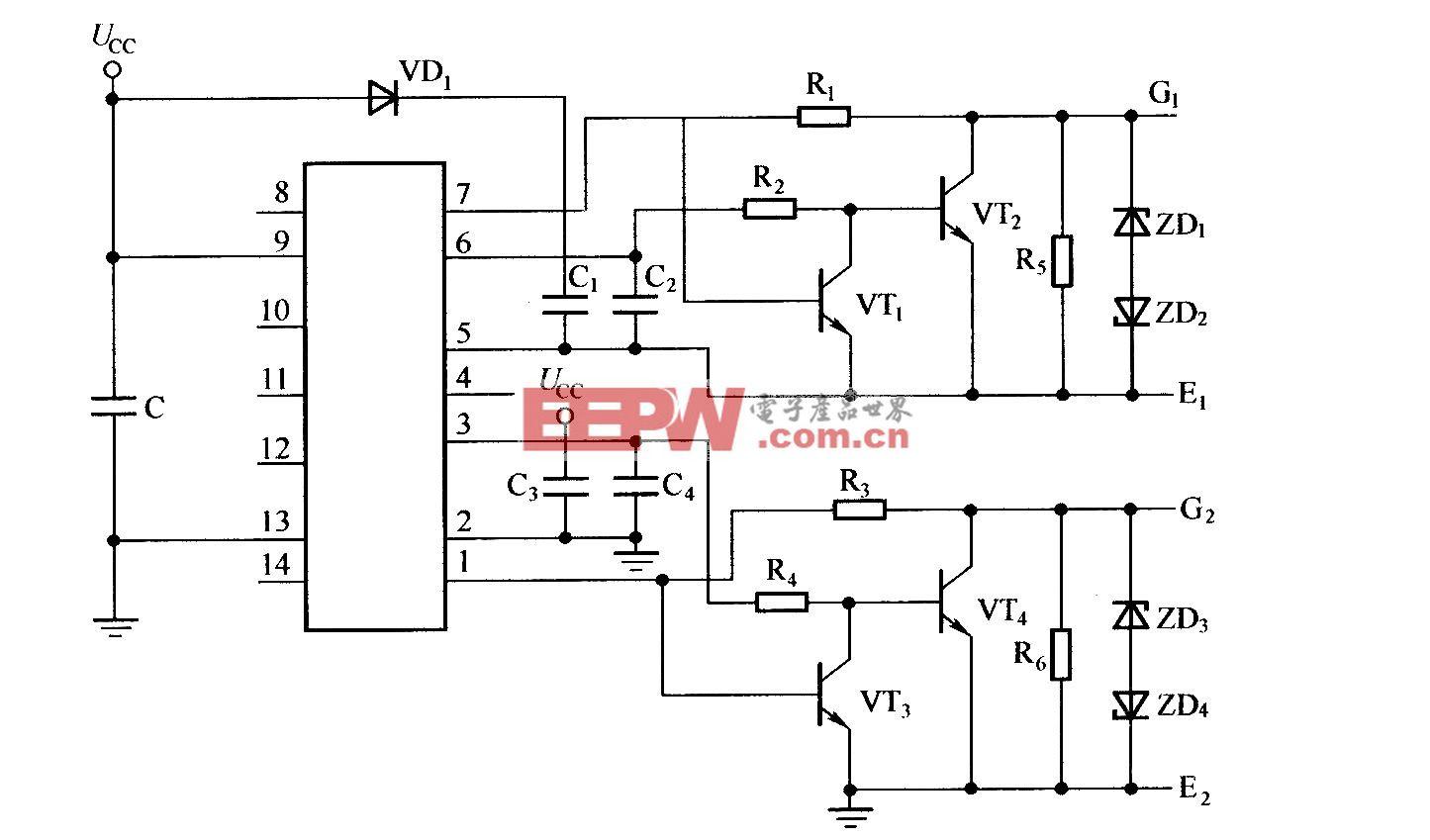带电平钳位功能的IR2110驱动电路