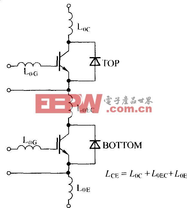 两单元IGBT模块的寄生电感