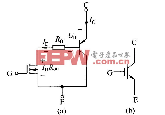 N沟道IGBT的简化等效电路和电气图形符号
