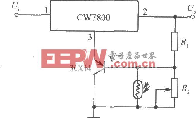 CW7800构成的光控集成稳压电源电路之一